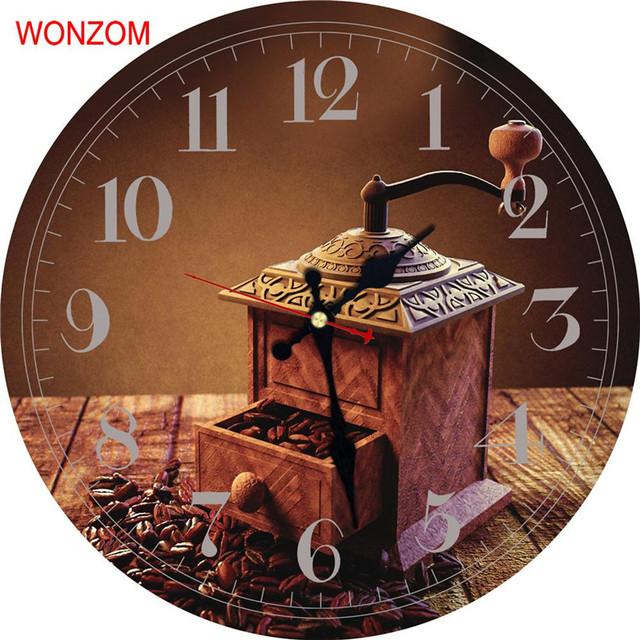 WONZOM Coffee Beans Modern Large Wall Clock Silent Living Room 2017 Decor Saat Home Decoration New Watch Reloj De Pared Gift