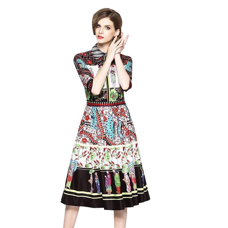 Women runway half sleeve Print Elegant Dress 2018 Summer New Retro luxury Dress high quality Brand Design Office Party Vestido