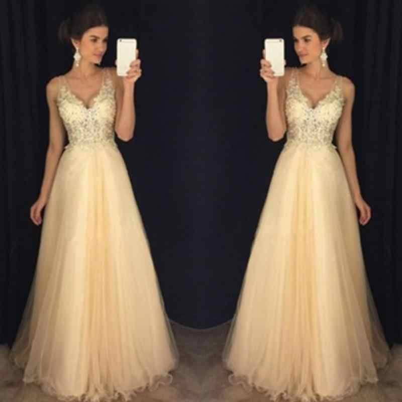 ... Women Lace Ladies Gold Sequins Sleeveless Dress Tulle Lace Princess  Long Gown Prom Bride Dress  ... 5e4d7b21502f