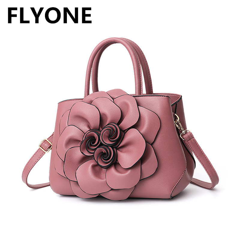 Top-Handle 3D Flower Elegant Women Handbag Floral Leather Sweet Lady Evening Bag Designer Wedding Shoulder Bags Girl Party Totes linen top handle bag chinese national style handbag women handmade tassal embroidery flower lady casual totes big shoulder bag