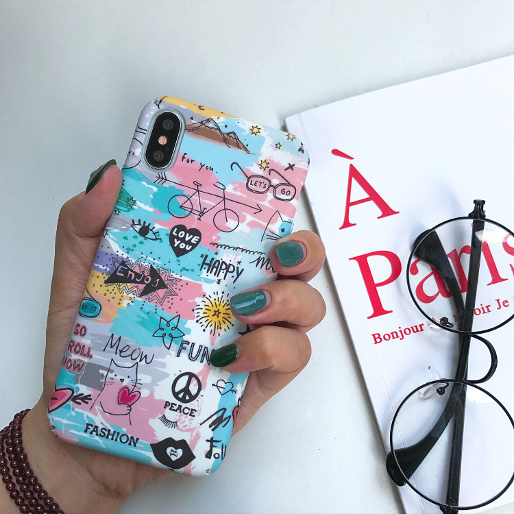Luxury Accessories iPhone 8 Plus Case For iPhone 6 6s 7 7Plus 8 8Plus X XR XS Max Frosted touch cartoon doodling Siedery