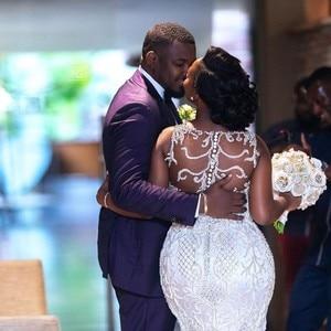 Image 2 - אפריקאית יוקרה בת ים שמלות כלה בתוספת גודל 2020 robe דה mariee שחור ילדה נשים תחרה שמלות כלה בעבודת יד כלה שמלה
