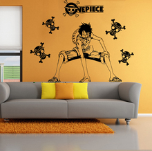 Free mail Anime strawhat luffy figure wall stickers Dormitory personality decorate wall stickers One piece full photo
