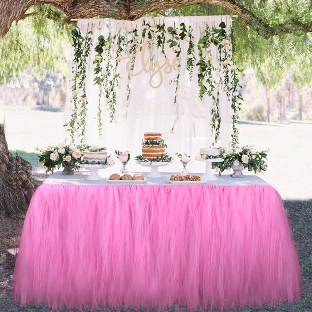 Wedding Party Tulle Tutu Table Skirt Birthday Baby Shower Wedding