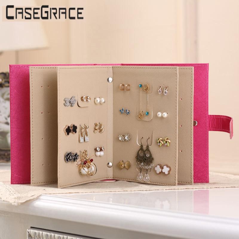 Červená růžová kožená náušnice ucho cvoček šperky - Organizace a skladování v domě