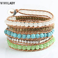VIVILADY Hand-woven Natural Opal Turquoise Stone Wrapped Bracelet Men Women Lady Unisex Gift Drop Shipping MD53 Bijoux Accessory