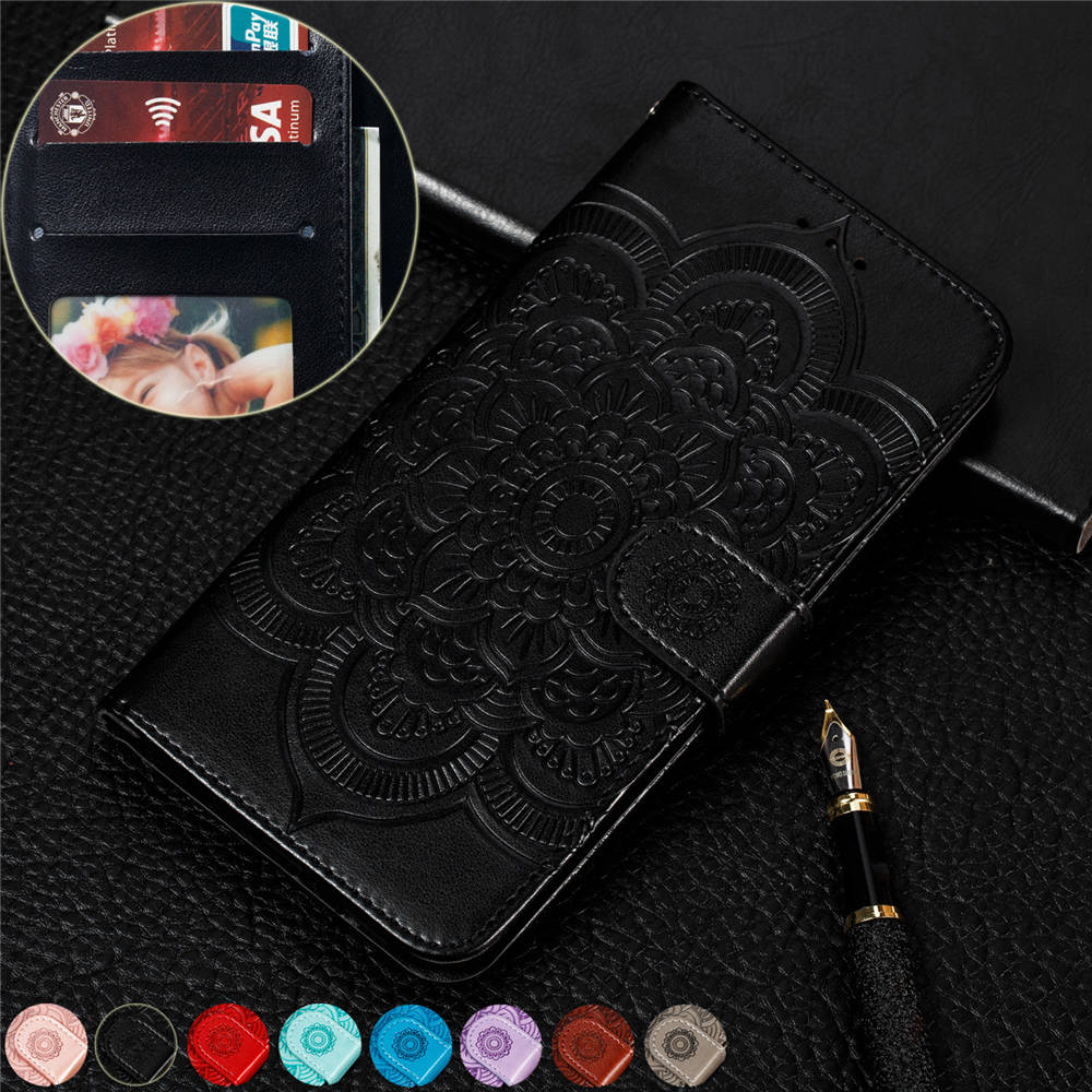 A6 a6+ 2018 Embossed sunflower Magnetic book Case For Samsung galaxy a6 plus 2018 Luxury PU Leather Wallet Flip Stand Cover CASE