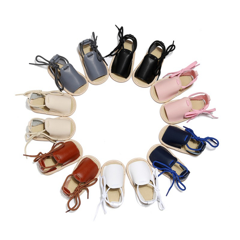 2019 Summer Baby Boys Girls Solid Lace-Up Shoes Sandals Toddler Soft Soled Sandal Casual Walking Shoes
