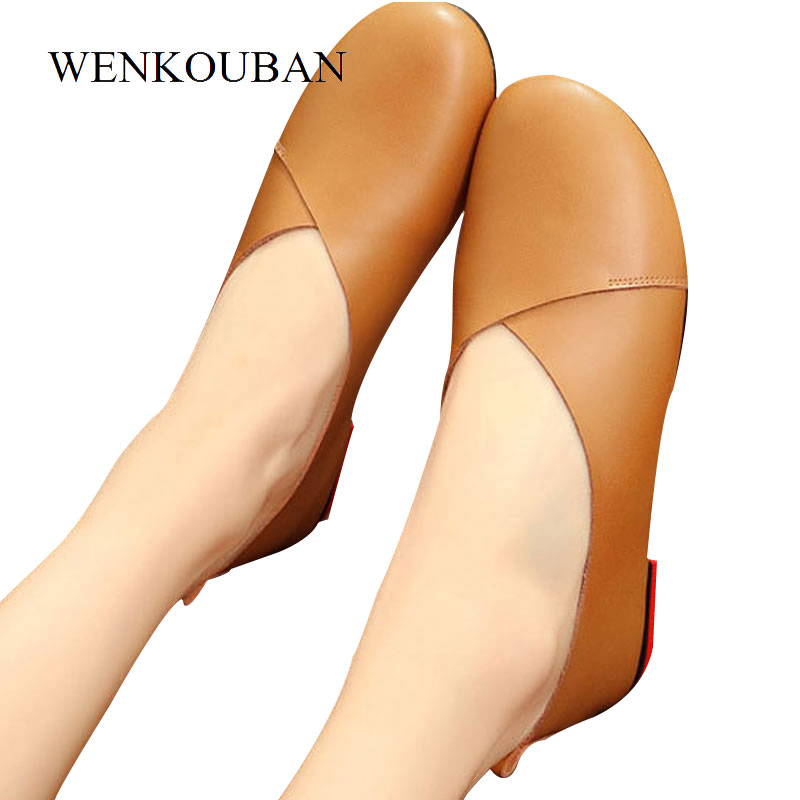 Plus Size 43 Genuine Leather Shoes Women Ballet Flats Ballerina Shoes Slip on Women Loafers Moccasins Casual Shoes Zapatos Mujer цена