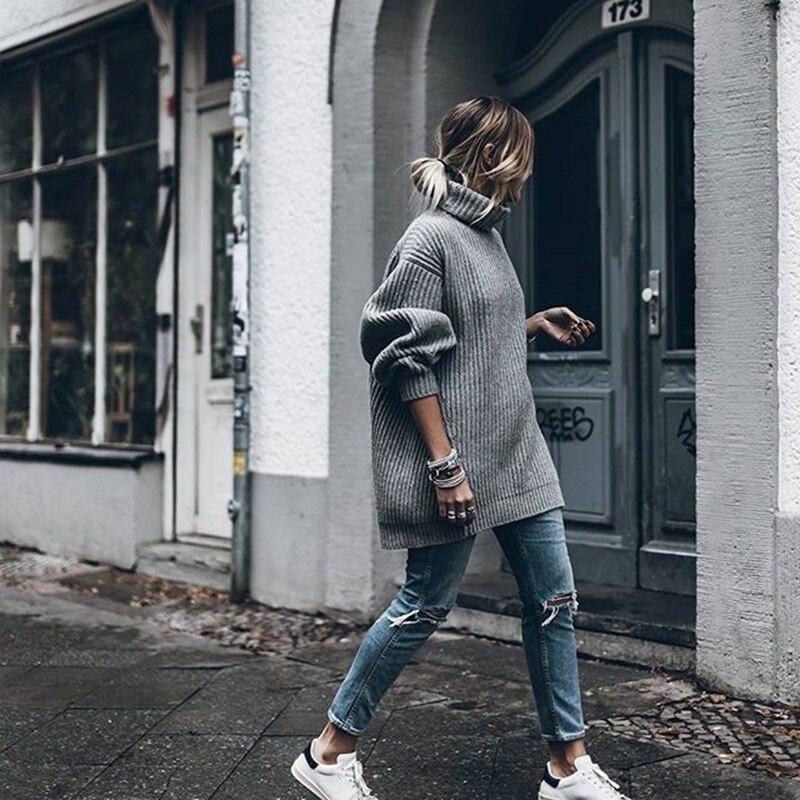 Loisirs Épais Lâche À orange Tricoter Nouvelle Sauvage Solide Brown 2018 Grande Col Roulé Mode Pulls Chandail Taille Femmes Getsring wPHS7