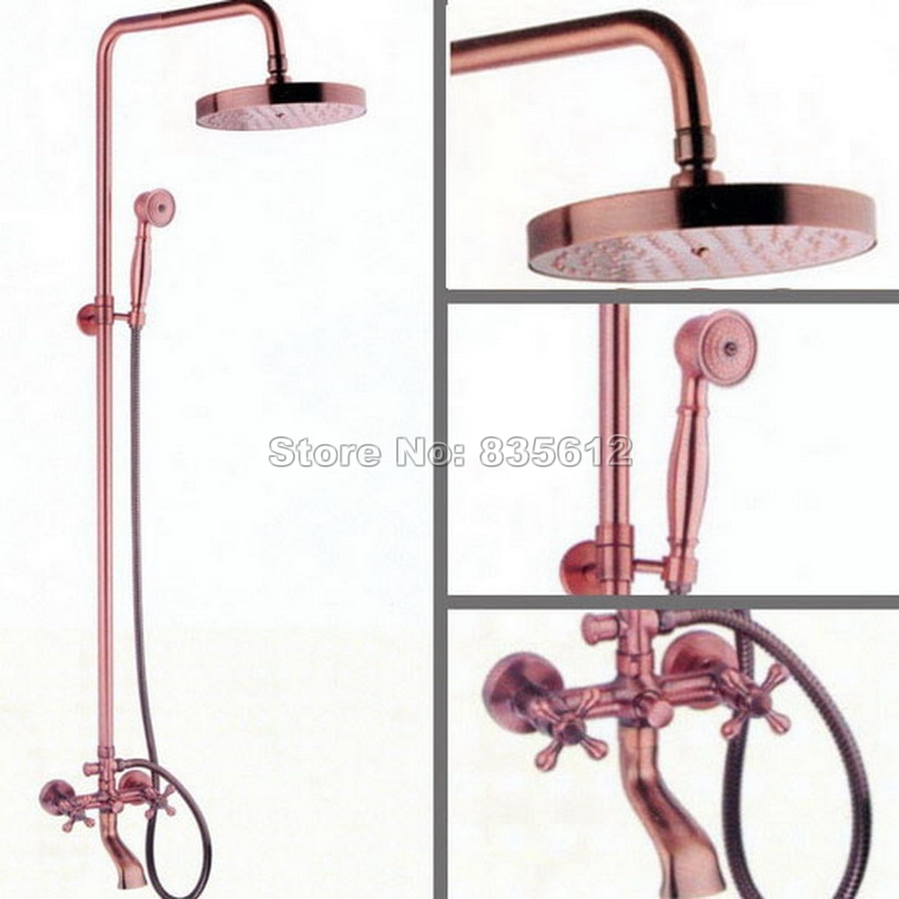Antique Red Copper Wall Mounted Bathroom Rain Shower Faucet Set\Hold Shower+Shower Head+Dual Handles Bath Tub Mixer Tap Wrg013Antique Red Copper Wall Mounted Bathroom Rain Shower Faucet Set\Hold Shower+Shower Head+Dual Handles Bath Tub Mixer Tap Wrg013