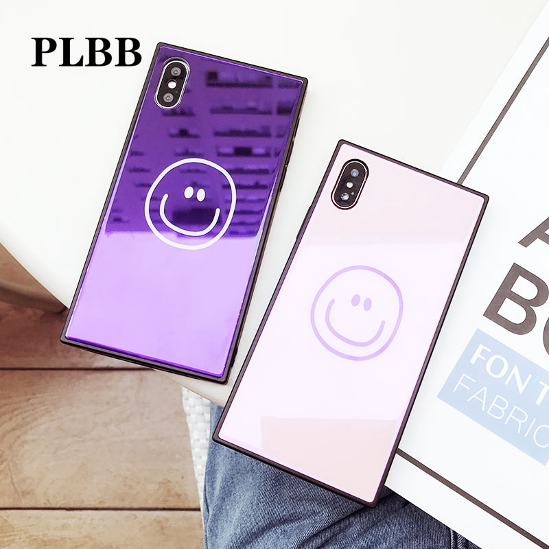 PLBB Fashion Girls Bluray Smile Expression Shockproof Tempered Glass TPU Frame Phone Capa Cover Case for iPhone X 7 6 6S 8 Plus
