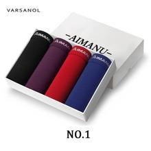 Varsanol 4pcs/lot New Men's Boxer Underwear Shorts Model Sexy Underpants Brand Plus Size L-2XL Comfortable Loose Leisure Panties