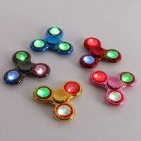 Hot Shining Luminous LED Lights Tri Fidget Hand Finger Spinner For Autism And ADHD Fidget Fingertip