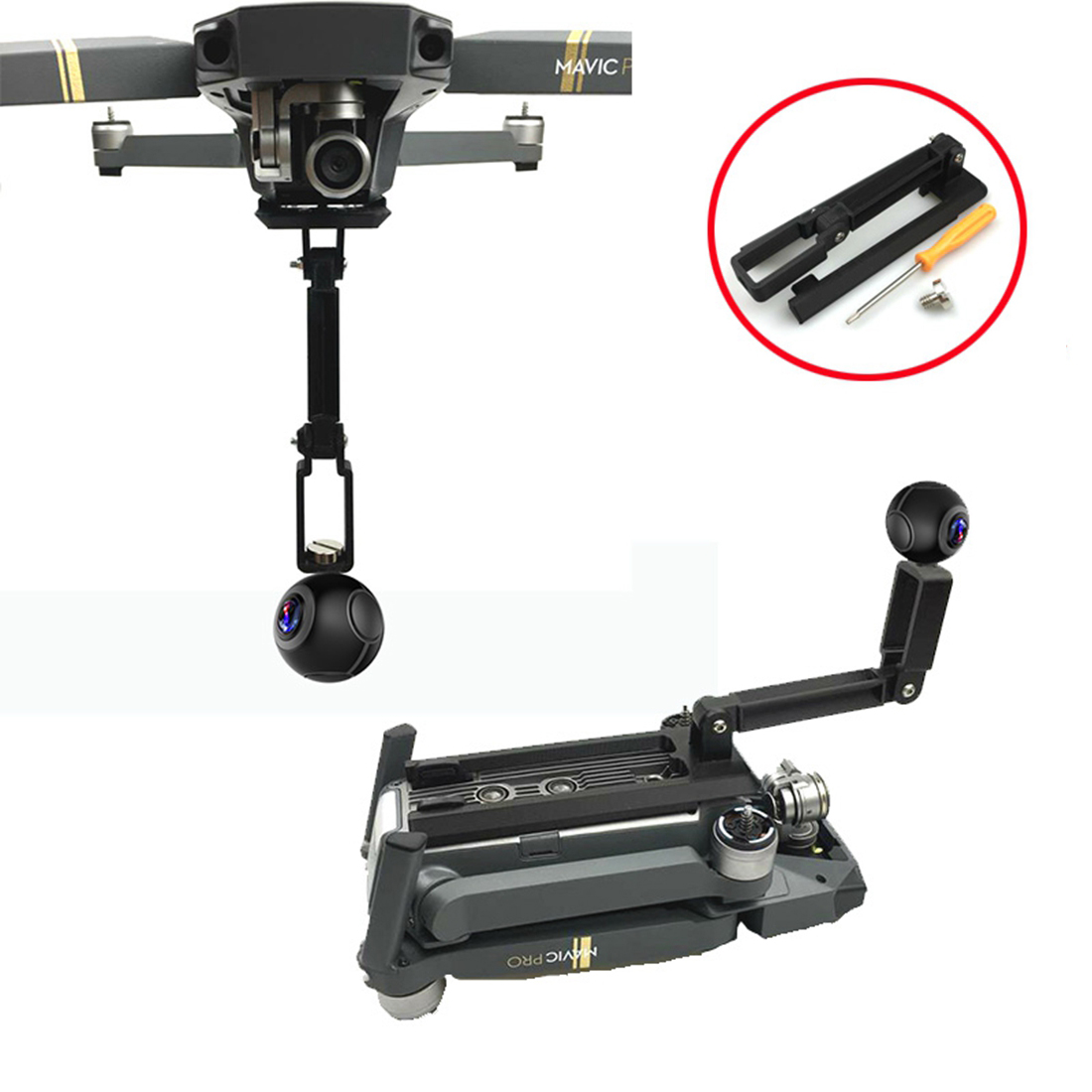 HOBBYINRC For Gopro Hero 5 4 3 Action Sports Camera 360 Degree Mount Bracket Holder Tripod support 1/4 Base for DJI Mavic Pro 3pcs lot tripod mount adapter mini tripod holder accessory mount bracket adapter for gopro hero 4 3 3 2 1 sj4000 sport camera