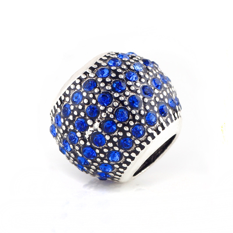 AODUOLA Silver Charm With 80 Blue Rhinestone big hole beads Spacer European Murano Czech DIY Fit For Pandora Charms Bracelet