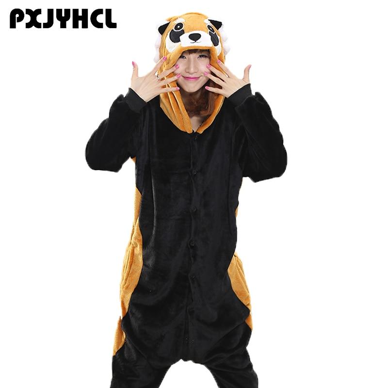 Raccoon Kigurumi Onesie Adult Girl Animal Pajamas Suit Overall Flannel Soft Sleepwear Onepiece Winter Jumpsuit Cosplay Costume