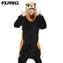 Raccoon Kigurumi Onesie Adult Girl Animal Pajamas Suit Overall Flannel Soft Sleepwear Onepiece Winter Jumpsuit Cosplay Costume цена