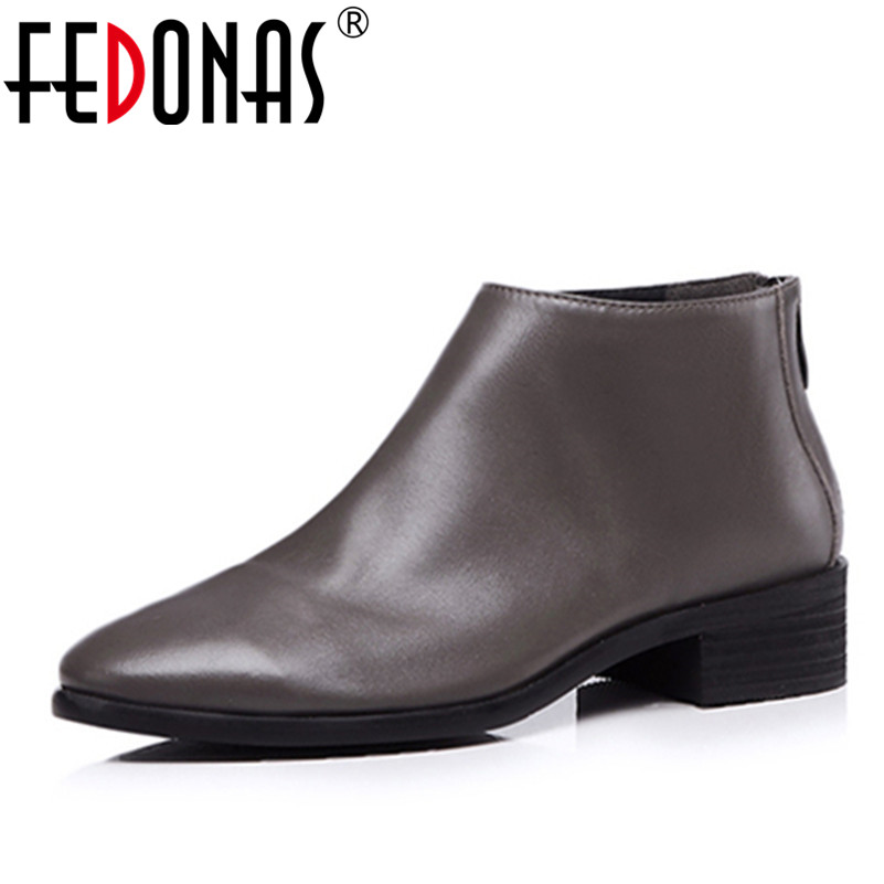 FEDONAS Brand Women Basic Ankle Boots Genuine Leather Autumn Winter Warm Snow Shoes Round Toe Elegant