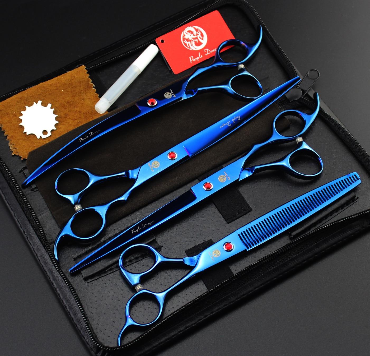 8.0Inch 4Pcs/Set Pet Grooming Scissors Blue Dog Shears pet attire sparkles dog collar 8 12in pink