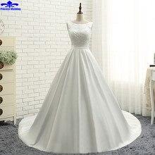 Real Picture Handmade Pearl vestido de noiva de renda Scalloped Neck Vintage Wedding Ball Gowns Tank Bow Satin Wedding Dresses