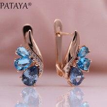 PATAYA New Three Water Drop Gradient Blue Earrings Women Natural Zircon Party Fine Fashion Jewelry 585 Rose Gold Dangle Earrings