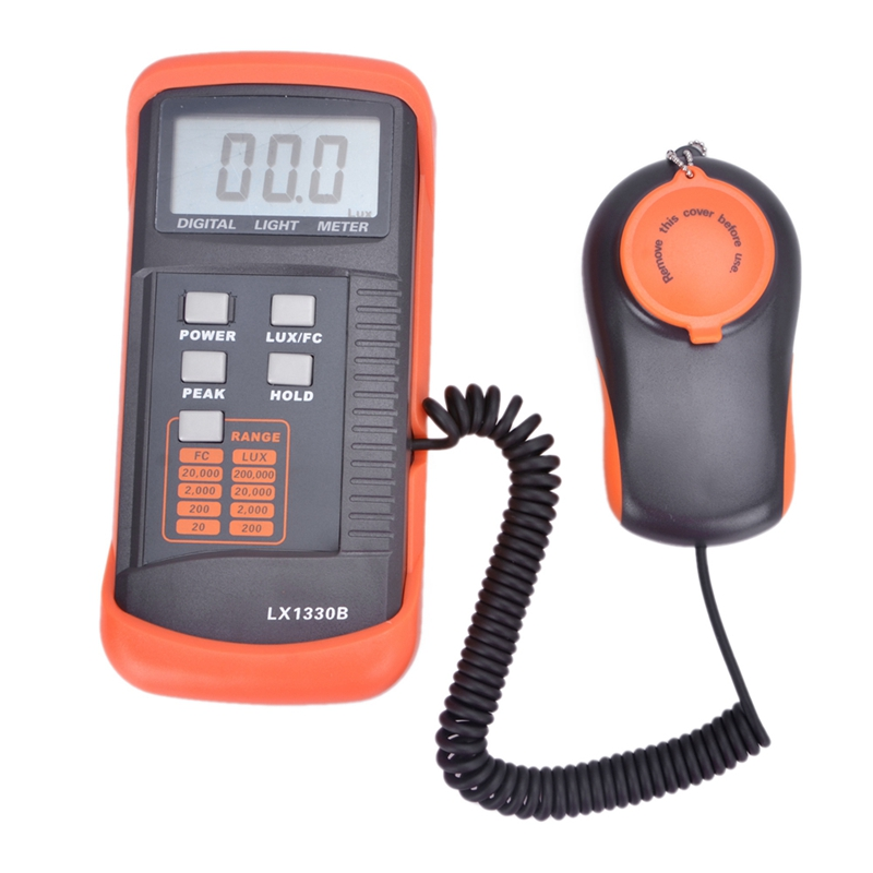 HOT!!! High Accuracy Professional Digital Light Meter 0.1~200,000Lux LX1330B With Data Hold And Peak Reading Hold Function new professional lx1010bs digital light meter 100000 handheld lux meter
