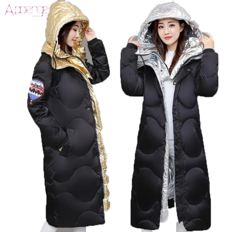 APOENGE 2017 New Women  Cotton Jackets Long Padded Coats Winter Warm Overwear  Coats Hooded Slim Zipper Parkas Korean LZ530 new collocation winter warm parkas hooded pockets zipper solid thick women coat slim long flare slim cotton padded lady jackets