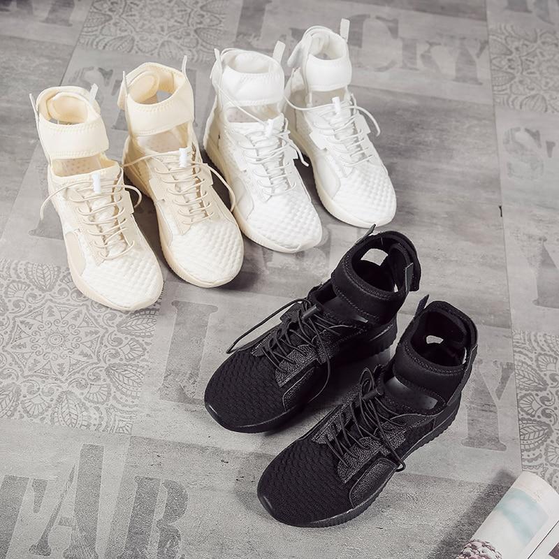 Chaussure forme black Femelle Femmes High Vulcaniser white D'été Appartements Casual Dames Top Incendies Beign Femme Plate Maille Sneakers Chaussures 6xHgSqR