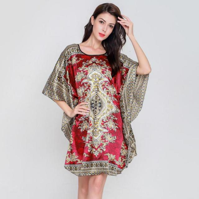 Women Print O-Neck Nightgown Summer New Sleepwear Rayon Nightwear Half  Sleeve Nightdress Mini Negligee Sexy Nightshirt Home Wear a20389b0e