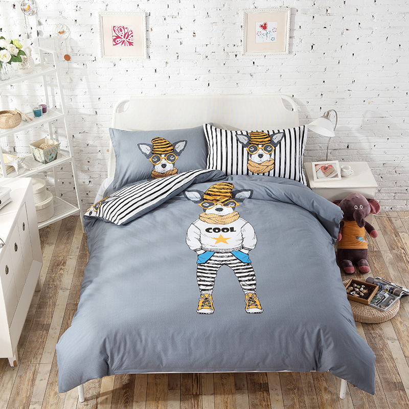 cool dogs print kid bedding sets 4pcs 100 cotton 1pcs 787x905 quilt cover 1pcs flat sheet 2pcs pillowcase setgrey - Kid Sheets
