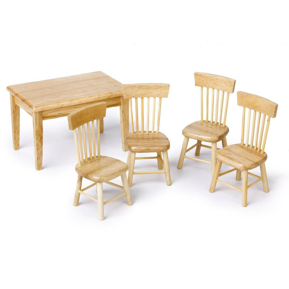 5pcs/Set Baby Toys Furniture Toy Miniature Dining Table Chair Wooden Furniture Set For 1:12 Dollhouse