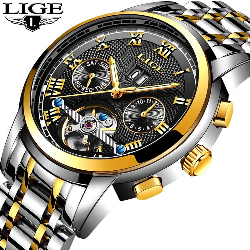 2019 New LIGE Watches Men Tourbillon Automatic Mechanical Watch Stainless Steel Business Waterproof Men Watch Relogio Masculino
