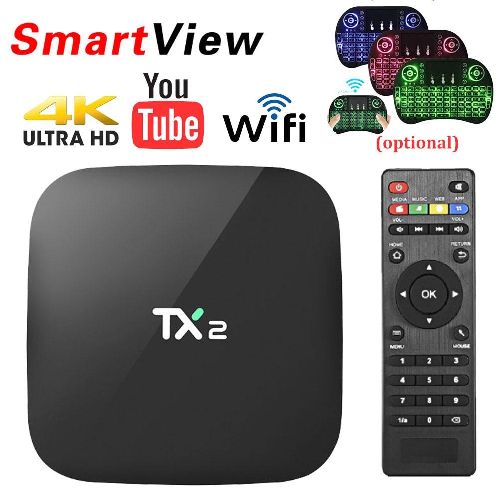 TX2 2GB/16GB Android 6.0 Smart TV BOX Mini Media Player Rockchip RK3229 H.265 4K 2.4GHz WiFi Bluetooth 2.1 Set Top Box TX2 TVBOX philips tx2 white
