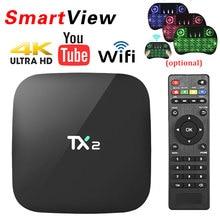 TX2 r1 r2 Rockchip rk3229 2 ГБ/16 ГБ Android 6.0 Умные телевизоры коробка H.265 4 К H.265 2.4 ГГц wi-Fi BT2.1 KD проигрыватель установлен Декодер каналов кабельного телевидения TX2