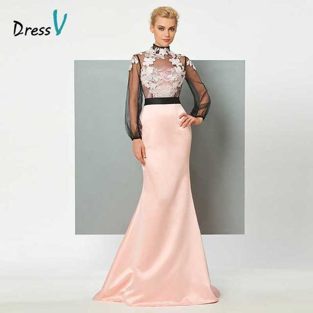 1c7f41af9b Dressv light pink syrenka długa suknia wysoka neck długie rękawy aplikacje trąbka  formalna strona suknia suknie