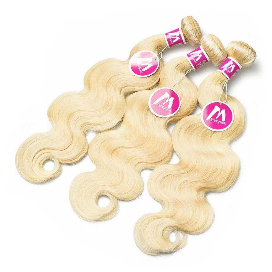 Блондинка 613 Связки с пряди волос на заколках 3 4 человеческих волос Связки с Фронтальная Закрытие Бразильский объемная пучки волнистых волос