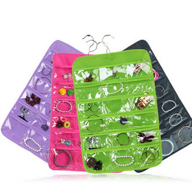 Behogar 32 Pockets 18 Hook Loops Hanger Hanging Jewelry Organizer