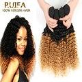 Ombre loira brasileira 8A cabelo brasileiro Kinky Curly virgem cabelo de dois tons Ombre cabelo brasileiro tece Curly Weave do cabelo humano