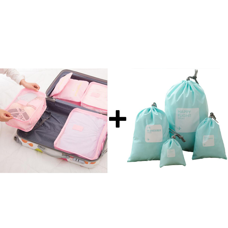 Packing Waterproof 6 Unisex Nylon Pieces Bags Zipper Travel One Storage Clothing Sorting Set IUX Capacity Big Cube Of 2