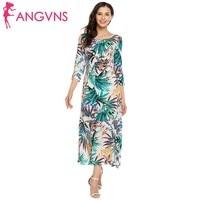 ANGVNS Women Elegant 3 4 Sleeve Floral Print O Neck Party Pleated Wave Hem Maxi Dress