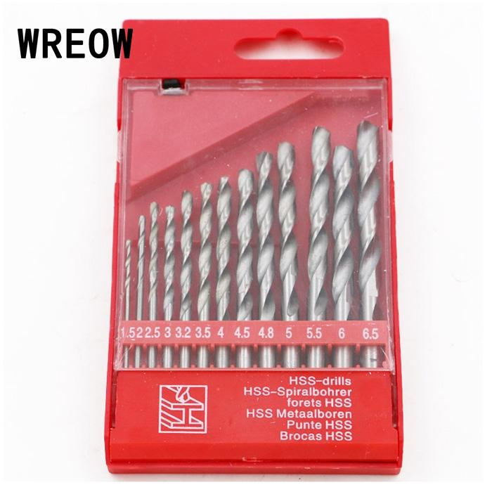 13 PCS Round Shank Coated HSS Titanium Twist Drill Bit Set 1.5-6.5mm Metal Wood Drill Bit Cobalt Drill Set Woodworking Metalwork