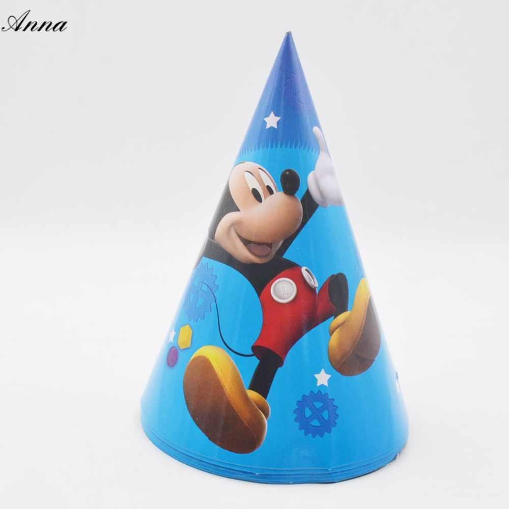 6 шт./пакет Микки Маус шапки тема вечерние для детей/мальчиков украшения на день рождения тема вечерние поставки Микки Маус вечерние поставки