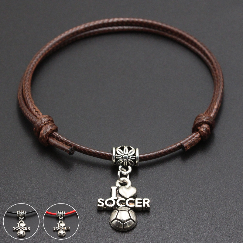2020 New I Love Soccer Pendant Red Thread String Bracelet Lucky Black Coffee Handmade Rope Bracelet for Women Men Jewelry