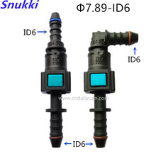 7.89mm ID6 180 degree SAE  fuel pipe fittings plastic Fuel line quick connector female male connector with double buttom 5 sets