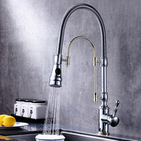 Kitchen Faucets 360 Swivel Solid Chrome and Golden Brass Kitchen Tap Single Handle Mixer Sink Taps Hot and Cold rubinetto cucina