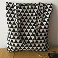 YILE Cotton Linen Fabric ECO Shopping Tote Shoulder Bag Print Geometric 1206-3