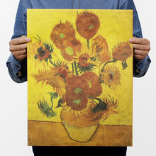 Van gogh painting sunflower set poster vintage retro paper craft for home decoration living room bar pub 51x35CM HD094(China)
