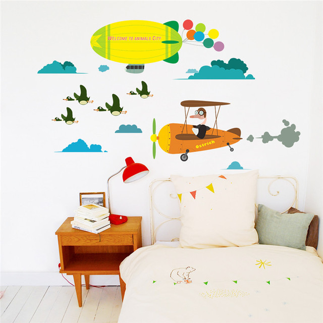 cartoon aircraft balloon wall stickers for kids rooms nursery boy's