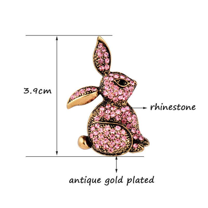 Sinleery Indah Lucu Merah Muda Putih Berlian Imitasi Kelinci Kelinci Hewan Bros Pin Fashion Wanita Perhiasan Aksesoris XZ029 SSD